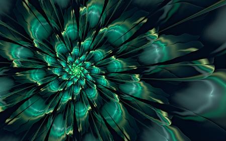 Abstract fractal, glossy green-cyan flower on dark background 版權商用圖片