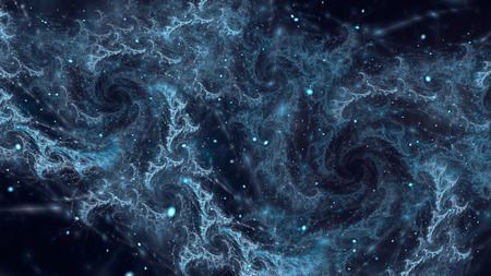 Abstract fractal, blue comic clouds on dark background