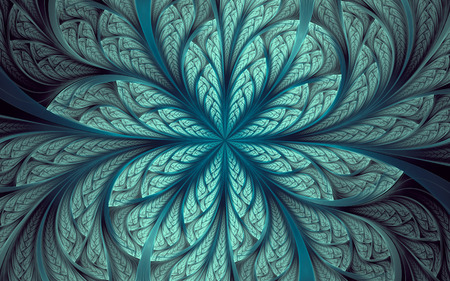 Abstract fractal background, cyan-blue mosaic ornamental pattern with curved stripes 版權商用圖片