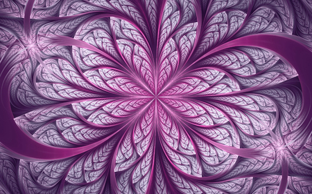 Abstract fractal background, purple-white mosaic ornamental pattern with curved stripes