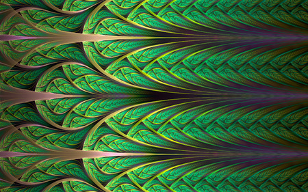 Abstract fractal background, green mosaic ornamental pattern with curved stripes