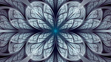 Abstract fractal background, blue-grey mosaic ornamental pattern with curved stripes