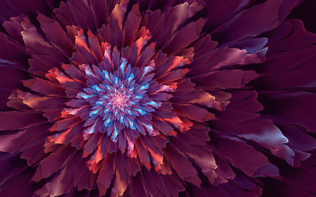 Abstract fractal, vivid purple flower with blue and red highlights, dark background 版權商用圖片
