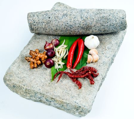 grinding: grinding stone with fresh herbs Stock Photo