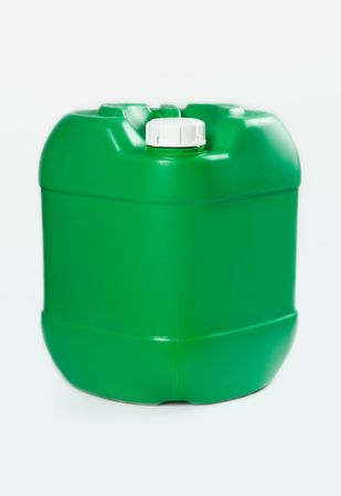 plastic waste: green barrel on white background