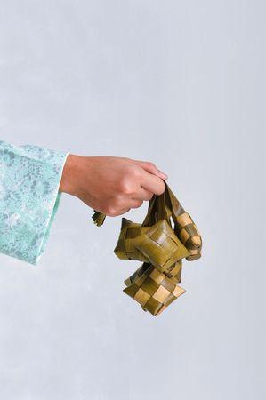 Ketupat served during Idul Fitri celebrations Stock Photo