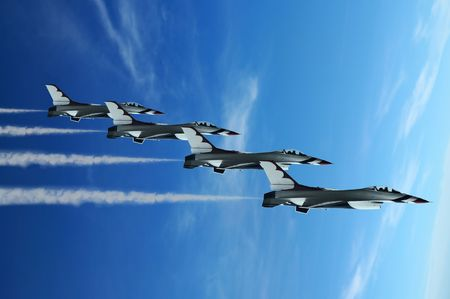 Military fighter jet during demonstration