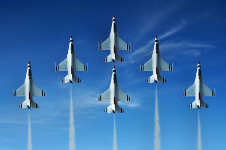 aerobatic: Military fighter jet during demonstration