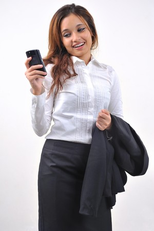 Business Woman Smile Reading Sms  photo