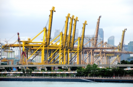SINGAPORE - DECEMBER 29: Brani Terminal on December 29, 2012 in Singapore. In 2012, BraniTerminal handle 31.26 million TEUs of containers.