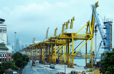SINGAPORE - DECEMBER 29: Keppel Terminal on December 29, 2012 in Singapore. In 2012, Keppal Terminal handle 31.26 million TEUs of containers.