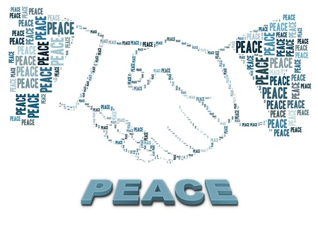 worldwide wish: Peace text and handshake shape  Stock Photo