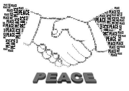 平和のテキストとのハンド シェークの形状 写真素材