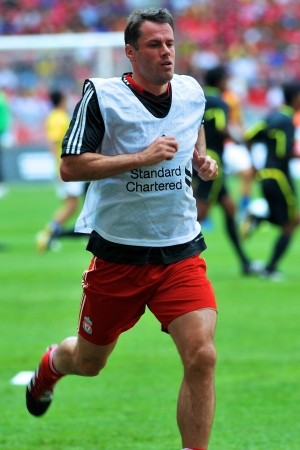 KUALA LUMPUR - JULY 16 : Liverpool player Jamie Carragher during a friendly match against Malaysia on July 16, 2011 in Kuala Lumpur, Malaysia. Liverpool won 6-3.