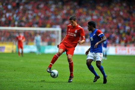 KUALA LUMPUR - JULY 16 : Liverpool player Conor Coady during a friendly match against Malaysia on July 16, 2011 in Kuala Lumpur, Malaysia. Liverpool won 6-3.