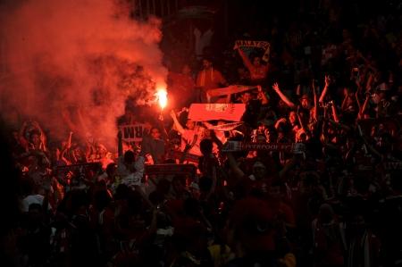 KUALA LUMPUR - JULY 16 : Liverpool fan during a friendly match against Malaysia on July 16, 2011 in Kuala Lumpur, Malaysia. Liverpool won 6-3.