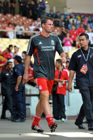 KUALA LUMPUR - JULY 16Liverpool player Jamie Carragher during a friendly match against Malaysia on July 16, 2011 in Kuala Lumpur, Malaysia. Liverpool won 6-3.