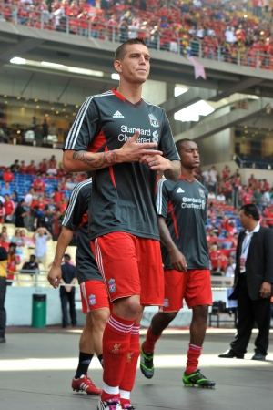 KUALA LUMPUR - JULY 16 : Liverpool player Daniel Agger during a friendly match against Malaysia on July 16, 2011 in Kuala Lumpur, Malaysia. Liverpool won 6-3.