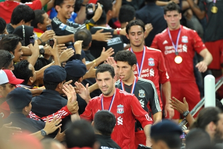 KUALA LUMPUR - JULY 16 : Liverpool player on stage during a friendly match against Malaysia on July 16, 2011 in Kuala Lumpur, Malaysia. Liverpool won 6-3. Editorial