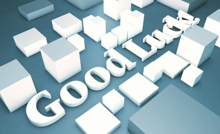 in bocca al lupo: Top vista 3D testo Good Luck