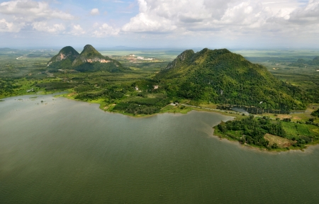 arial view: Rain Forest mountain, Perlis Malaysia - arial view Stock Photo