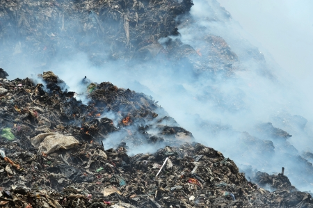 fire and smoke in a landfill