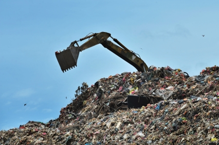 landfill site: excavator works on the landfill