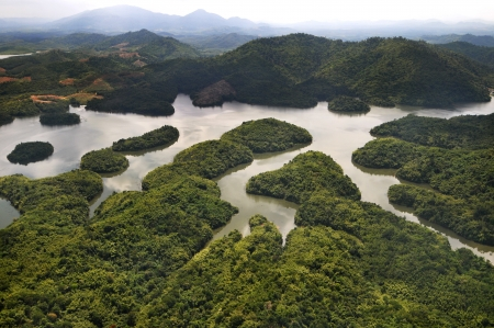 arial: Rain Forest mountain and lake, Kedah Malaysia - arial view