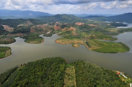 arial view: Rain Forest mountain and lake, Kedah Malaysia - arial view