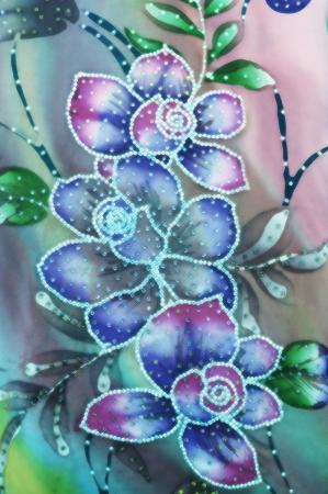 sarong: Flower Batik Background with fabric texture