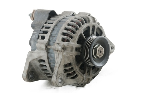 Used car alternator on with background