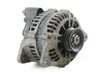 alternator: Used car alternator on with background