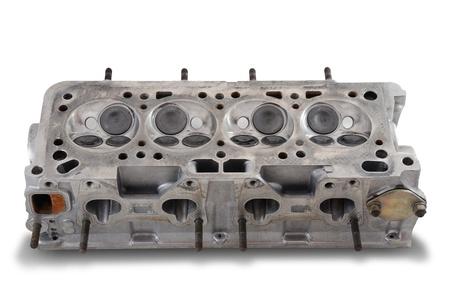camshaft: Four cylinder engine head on white