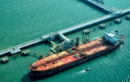 Oil Tanker at refinery plant                                写真素材