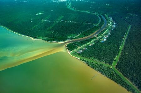arial: estuary arial view