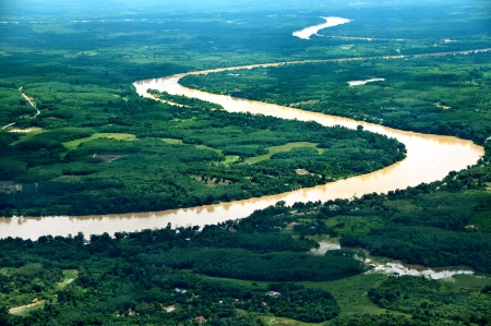 River in Pahang, Malaysia - Aerial View 写真素材