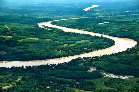 pahang: River in Pahang, Malaysia - Aerial View Stock Photo
