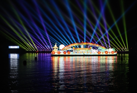 PUTRAJAYA - JUNE 24 : Boat parade called Magic of the Night are shown during Floria Event at Putrajaya, Malaysia in June 24, 2013.
