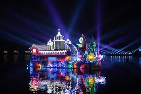 PUTRAJAYA - JUNE 24 : Boat parade called Magic of the Night are shown during Floria Event at Putrajaya, Malaysia in June 24, 2013.
