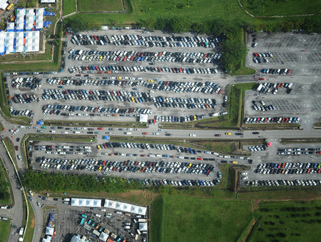 Parking lot from aerial view