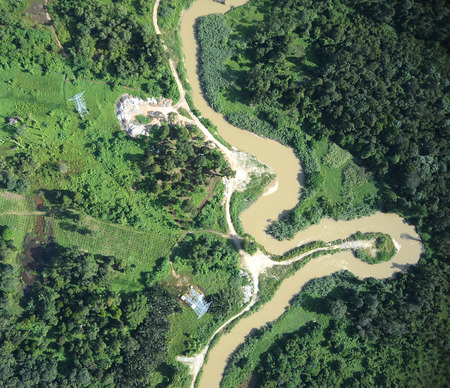 濁った水川 写真素材