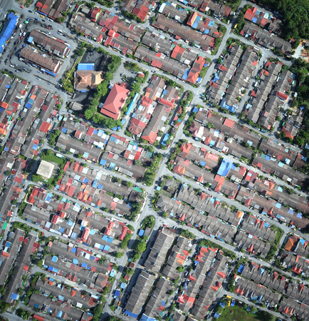 compact neighborhood aerial view Stock Photo