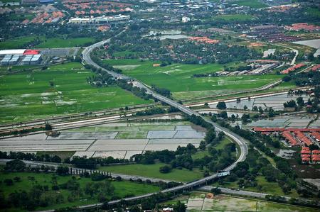 Highway crossing paddy field in Kedah, Malaysia