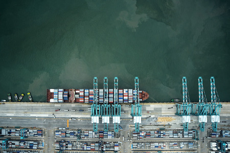 container ship loading in the port Banco de Imagens