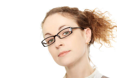 curly headed: Portrait of young woman in glasses isolated on white background