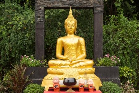 Buddha statues at Wat Saket  The Golden Mount  Stock Photo