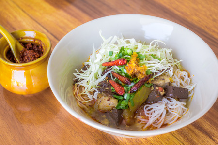 Thai vermicelli eaten with curry and vegetable