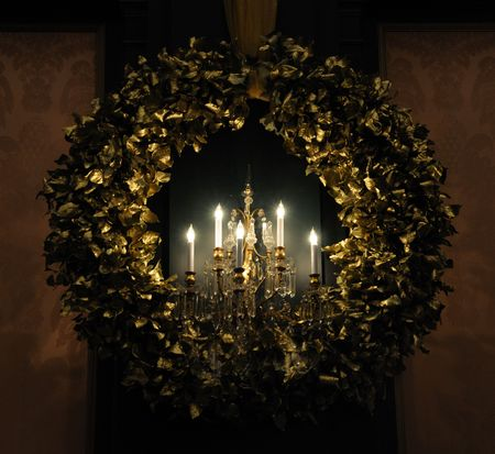 Candlelit Christmas Wreath Stock fotó