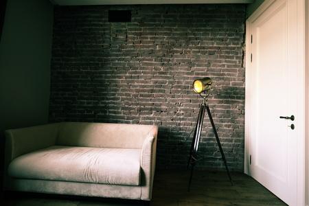 floor lamp: Beautiful modern living room with grey sofa and floor lamp