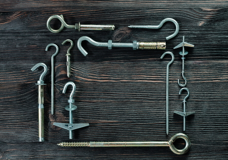 fasteners: A set of fasteners. Ceiling hooks. Stock Photo